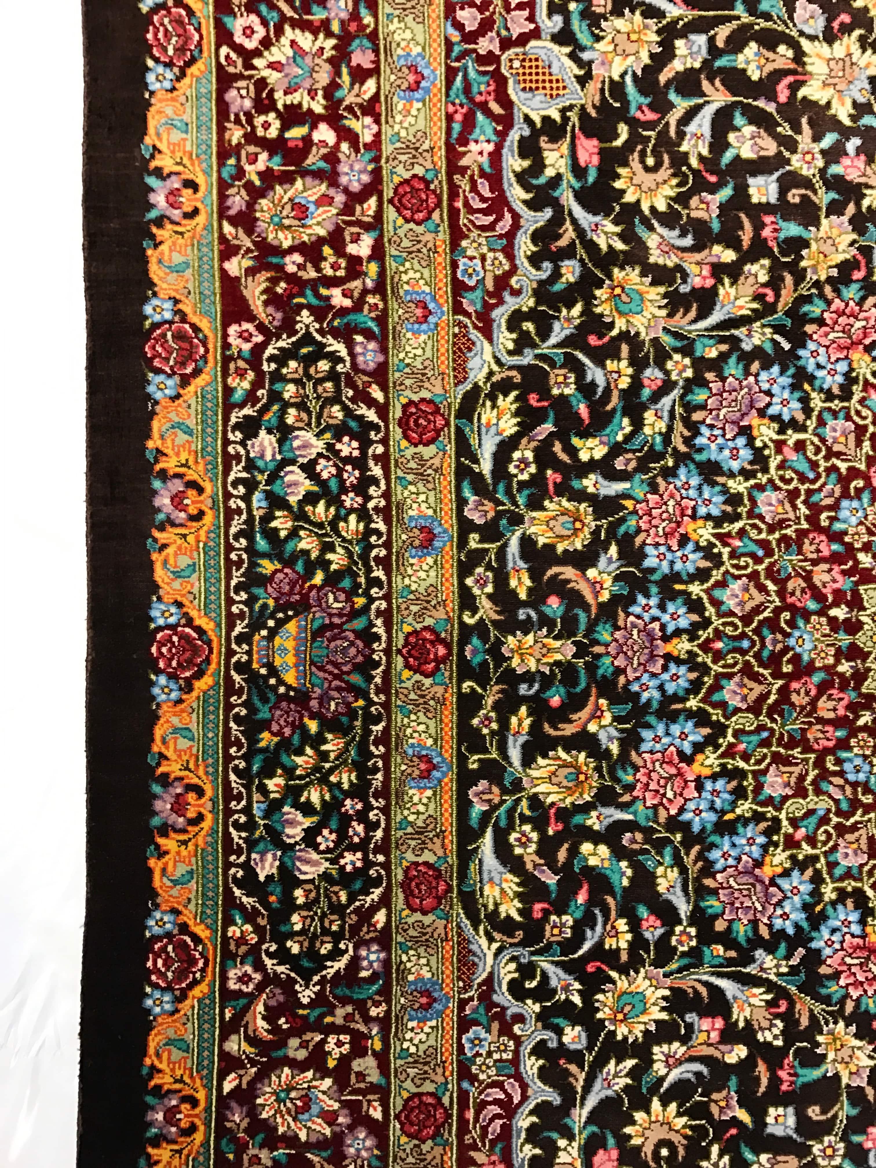 Traditional Rug Persian Ghom Silk Brown Edge Pv Rugs