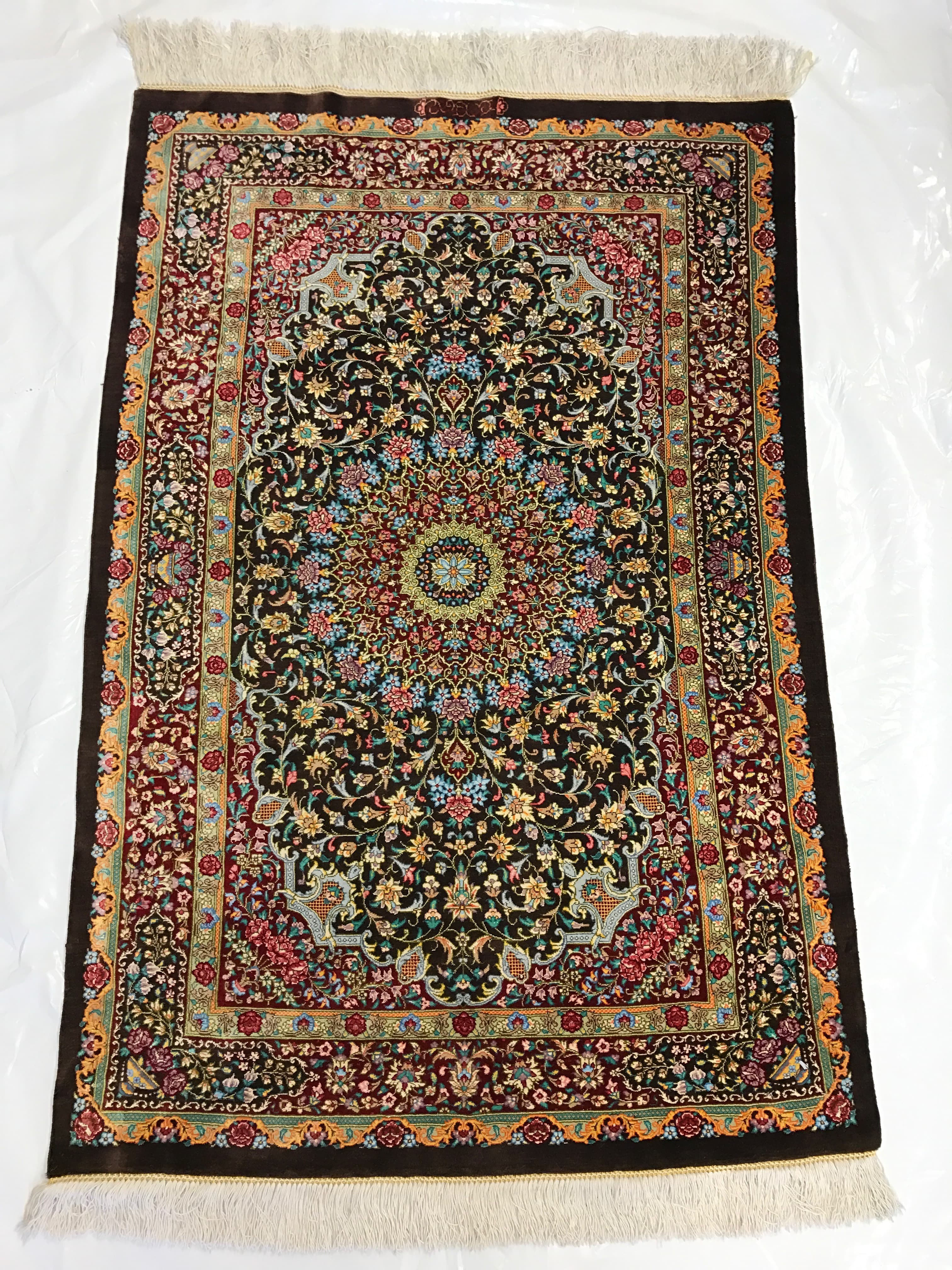 Traditional Rug Persian Ghom Silk Brown Overview Pv Rugs