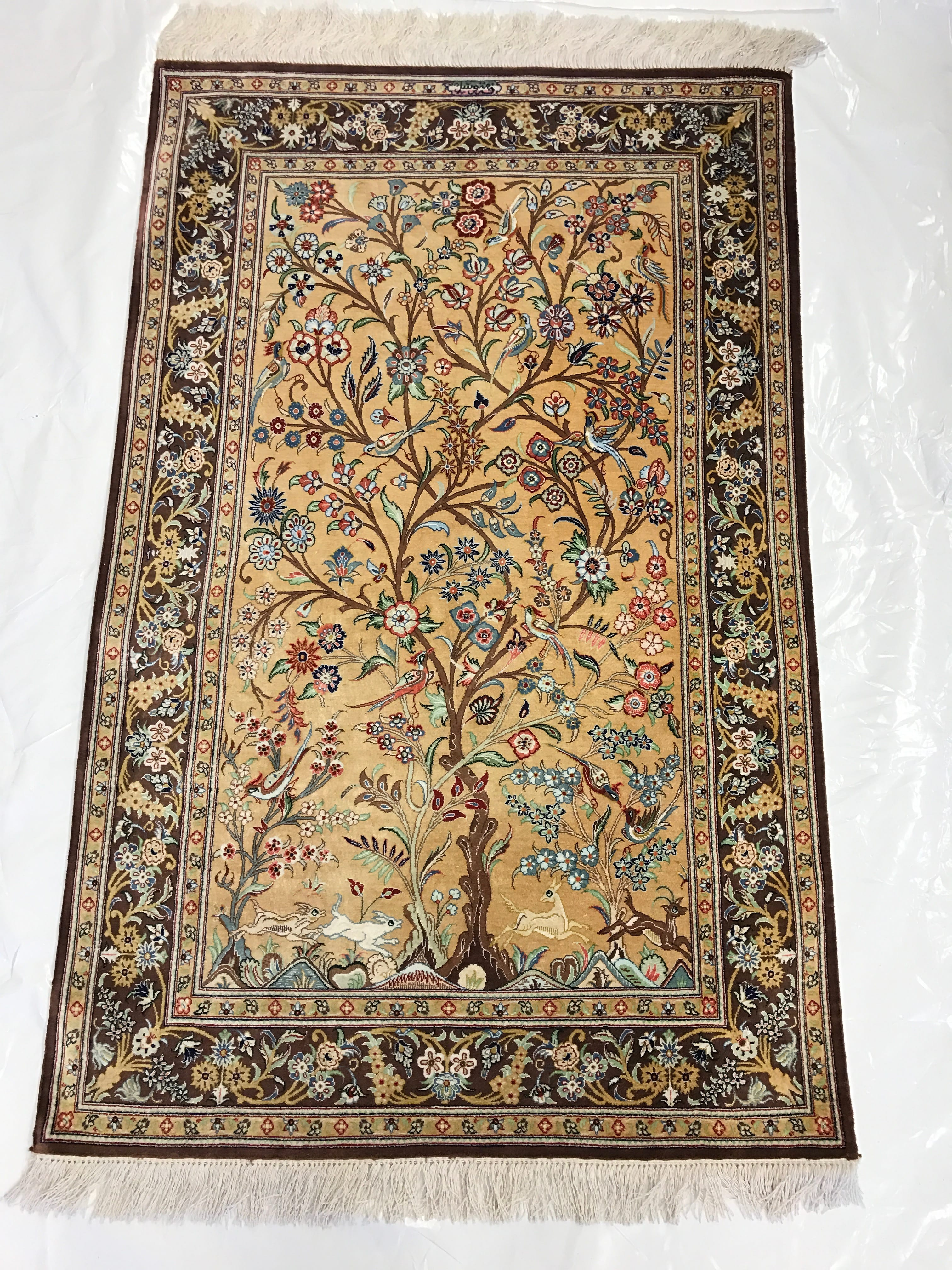 traditional rug ghom silk tree of overview pv rugs