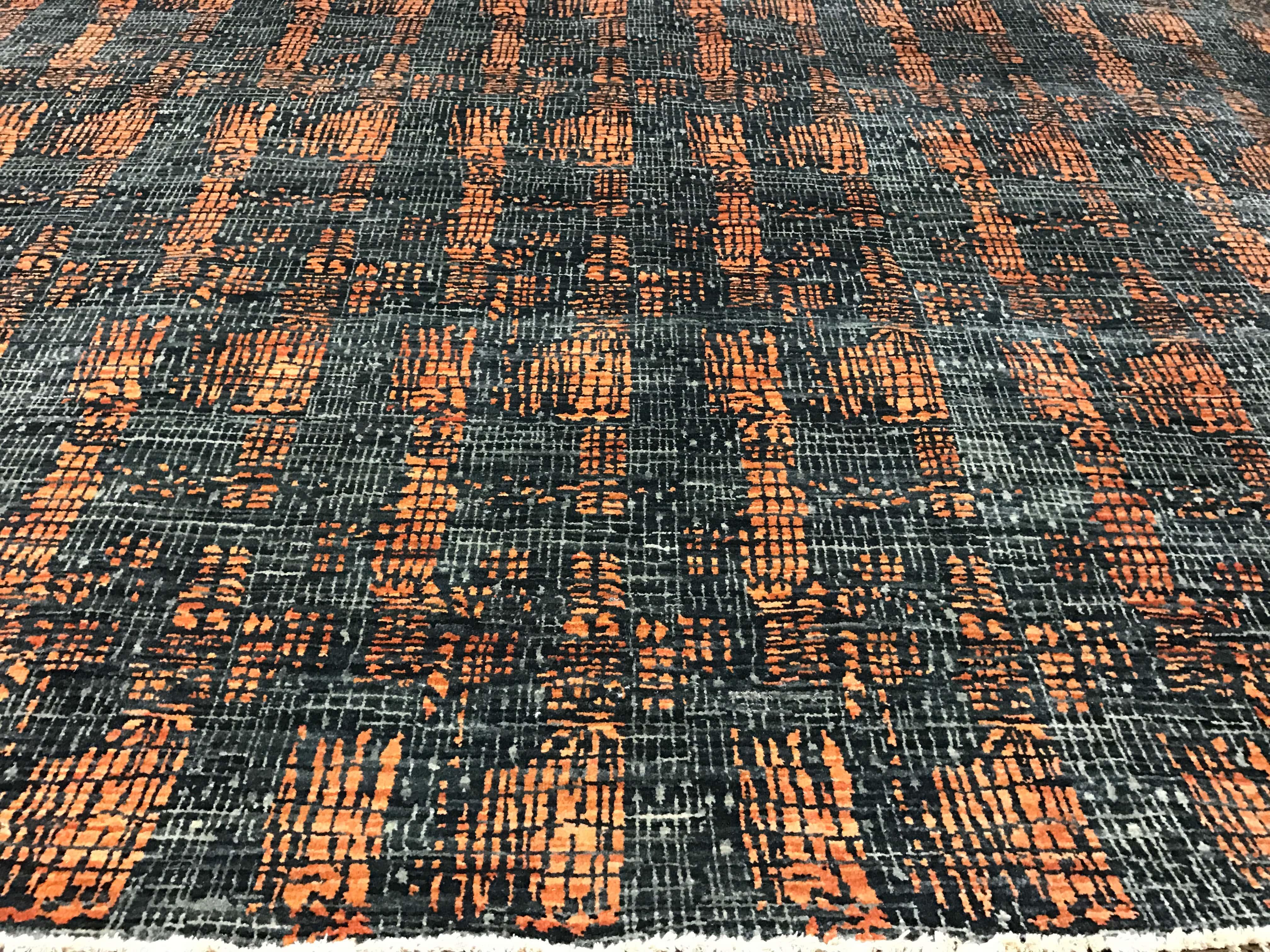 Gray And Orange Rug 8u0027 X 11u0027 Flatweave